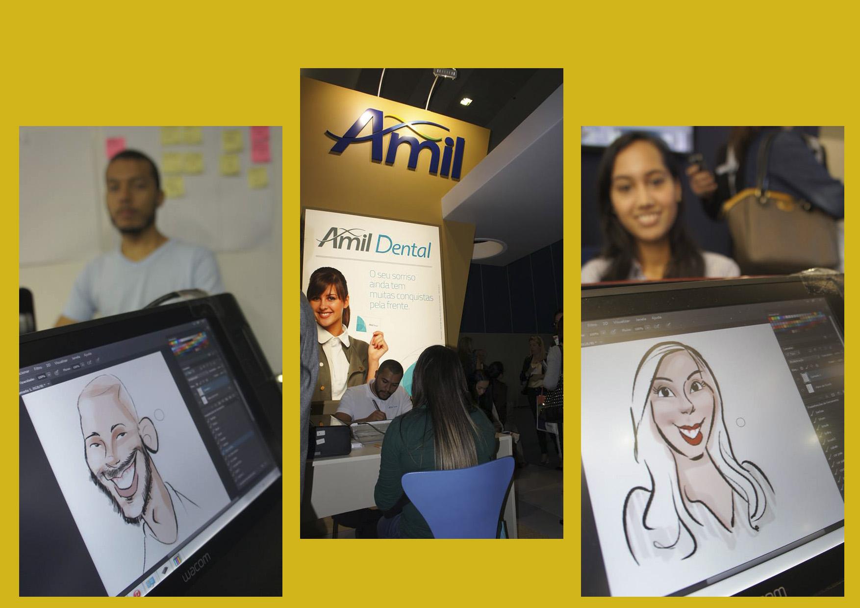 Caricaturas ao vivo em canecas para Amil no Rio