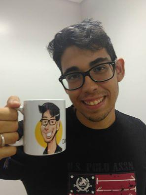 Caricatura em canecas ao vivo dia dos namorados nas lojas da Vivo em Brasília